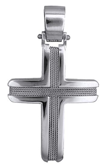 Σταυροί Βάπτισης - Αρραβώνα Λευκόχρυσος αντρικός σταυρός 019297 019297 Ανδρικό Χρυσός 14 Καράτια