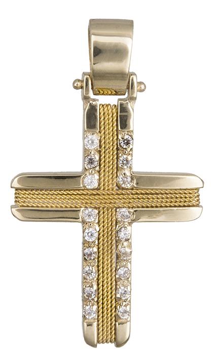 Σταυροί Βάπτισης - Αρραβώνα Γυναικείος σταυρός με σύρμα Κ14 019300 019300 Γυναικείο Χρυσός 14 Καράτια