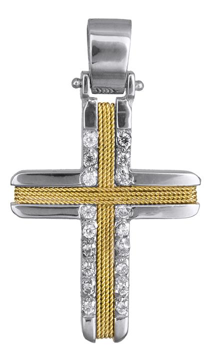 Σταυροί Βάπτισης - Αρραβώνα Δίχρωμος σταυρός για γυναίκες Κ14 019302 019302 Γυναικείο Χρυσός 14 Καράτια