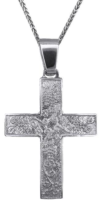 Βαπτιστικοί Σταυροί με Αλυσίδα Βαπτιστικός λευκόχρυσος σταυρός 14Κ C019304 019304C Χρυσός 14 Καράτια