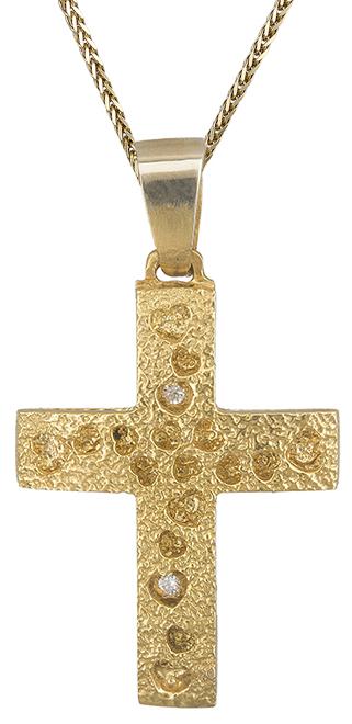 Βαπτιστικοί Σταυροί με Αλυσίδα Γυναικείος σταυρός με καρδούλες C019305 019305C Γυναικείο Χρυσός 14 Καράτια