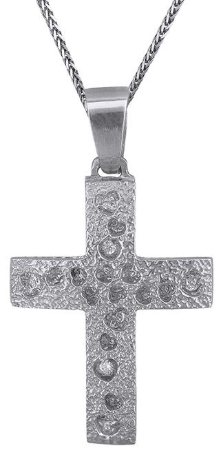 Βαπτιστικοί Σταυροί με Αλυσίδα Λευκόχρυσος σταυρός με καρδούλες C019306 019306C Γυναικείο Χρυσός 14 Καράτια