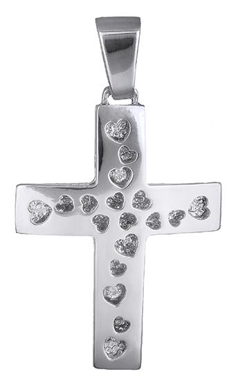 Σταυροί Βάπτισης - Αρραβώνα Γυναικείος σταυρός με καρδούλες Κ14 019307 019307 Γυναικείο Χρυσός 14 Καράτια
