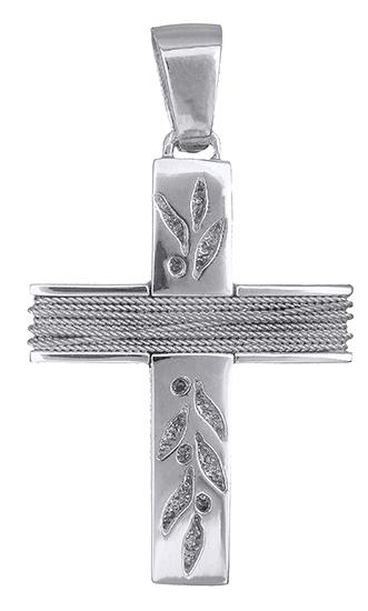 Σταυροί Βάπτισης - Αρραβώνα Λευκόχρυσος γυναικείος σταυρός 14Κ 019310 019310 Γυναικείο Χρυσός 14 Καράτια
