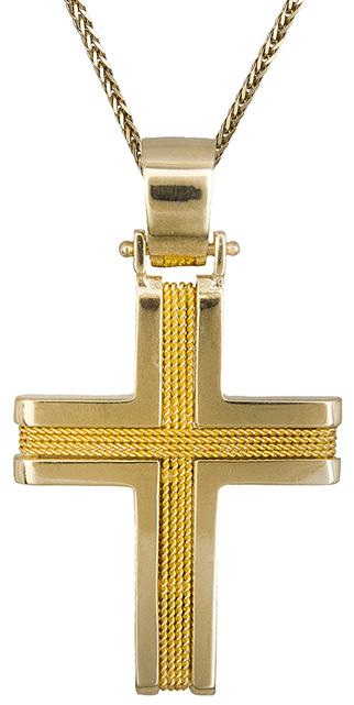 Βαπτιστικοί Σταυροί με Αλυσίδα Χρυσός σταυρός ανδρικός με αλυσίδα Κ14 C019311 019311C Ανδρικό Χρυσός 14 Καράτια