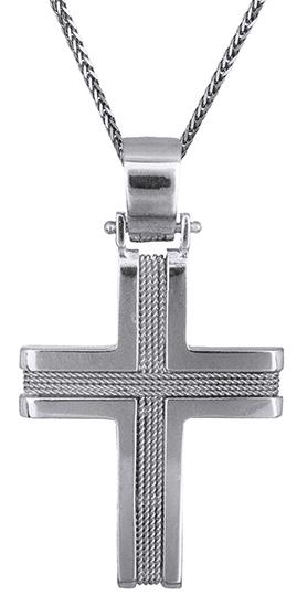 Βαπτιστικοί Σταυροί με Αλυσίδα Λευκόχρυσος συρματερός σταυρός Κ14 C019314 019314C Ανδρικό Χρυσός 14 Καράτια
