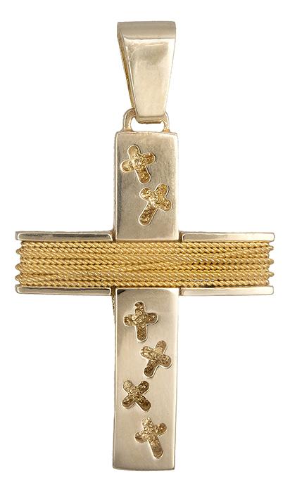 Σταυροί Βάπτισης - Αρραβώνα Χρυσός σταυρός αντρικός με σύρμα Κ14 019315 019315 Ανδρικό Χρυσός 14 Καράτια