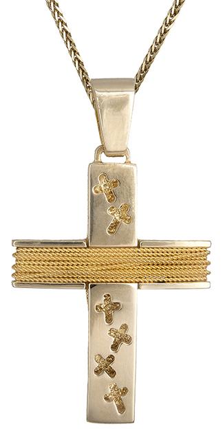 Βαπτιστικοί Σταυροί με Αλυσίδα Χρυσός σταυρός ανδρικός με σύρμα Κ14 C019315 019315C Ανδρικό Χρυσός 14 Καράτια