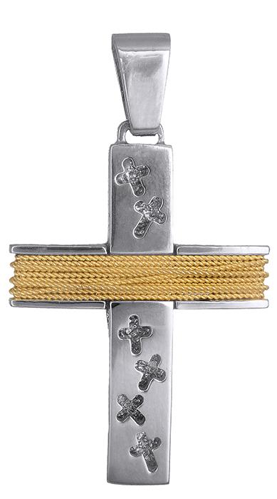Σταυροί Βάπτισης - Αρραβώνα Δίχρωμος αντρικός σταυρός Κ14 019317 019317 Ανδρικό Χρυσός 14 Καράτια
