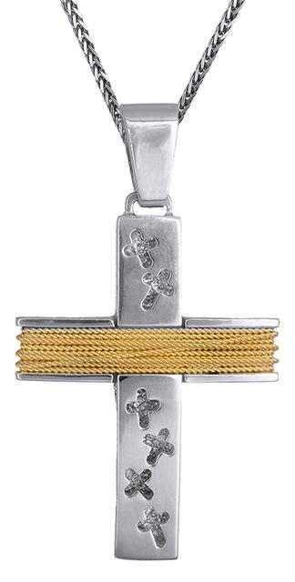 Βαπτιστικοί Σταυροί με Αλυσίδα Διχρωμος σταυρός ανδρικός Κ14 C019317 019317C Ανδ σταυροί βάπτισης   γάμου βαπτιστικοί σταυροί με αλυσίδα