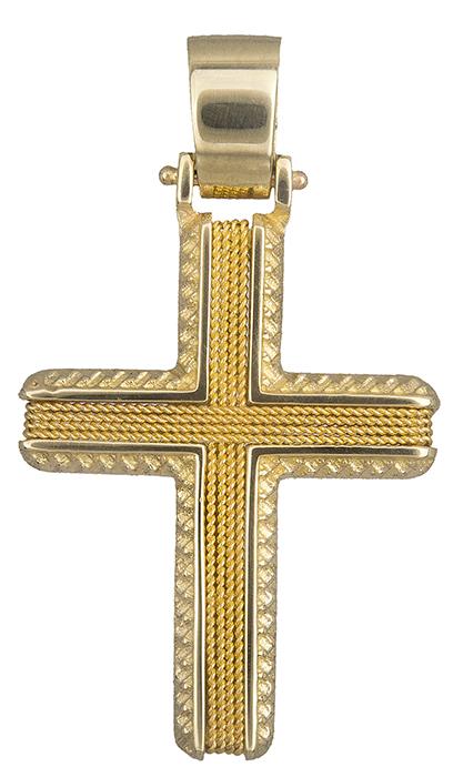 Σταυροί Βάπτισης - Αρραβώνα Βαπτιστικός σταυρός χρυσός για αγόρι Κ14 019318 019318 Ανδρικό Χρυσός 14 Καράτια