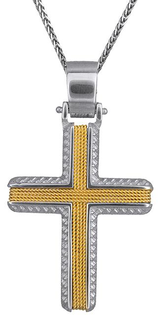 Βαπτιστικοί Σταυροί με Αλυσίδα Δίχρωμος αντρικός σταυρός 14Κ C019319 019319C Ανδρικό Χρυσός 14 Καράτια