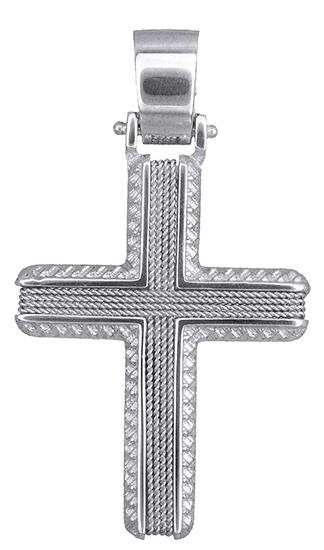 Σταυροί Βάπτισης - Αρραβώνα Λευκόχρυσος αντρικός σταυρός Κ14 019320 019320 Ανδρικό Χρυσός 14 Καράτια