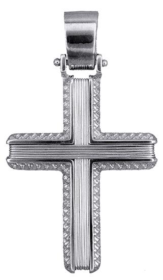 Σταυροί Βάπτισης - Αρραβώνα Συρματερός λευκόχρυσος σταυρός Κ14 019321 019321 Ανδρικό Χρυσός 14 Καράτια