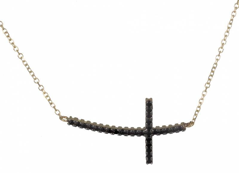 Χρυσό κολιέ σταυρός διπλής όψης 019332 019332 Χρυσός 14 Καράτια χρυσά κοσμήματα κολιέ