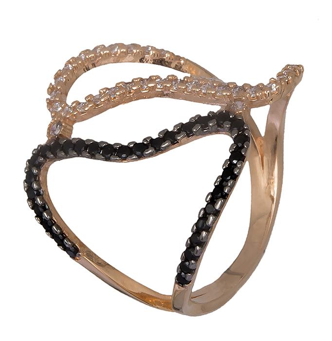 Ροζ χρυσό δαχτυλίδι με πέτρες 14K 019348 019348 Χρυσός 14 Καράτια