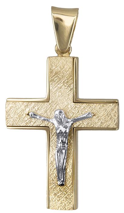 Σταυροί Βάπτισης - Αρραβώνα Ανδρικός δίχρωμος σταυρός 14Κ 019453 019453 Ανδρικό Χρυσός 14 Καράτια