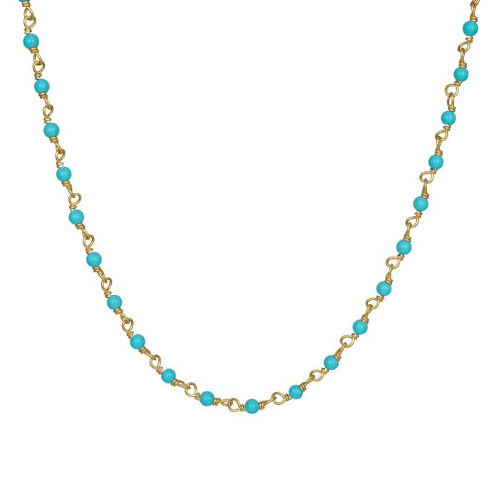 Επίχρυσο κολιέ 925 με μπλε χάντρες 019456 019456 Ασήμι