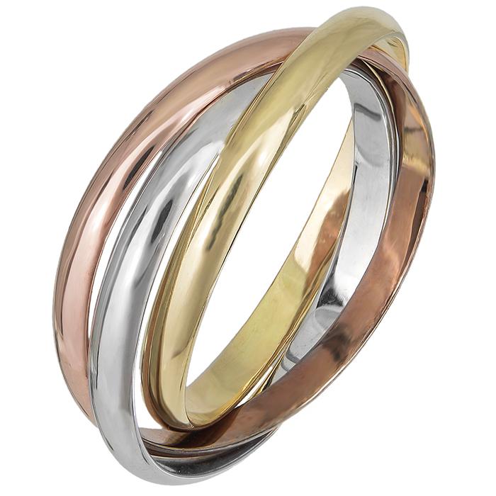 Τρίχρωμο δαχτυλίδι βέρα K14 019496 019496 Χρυσός 14 Καράτια