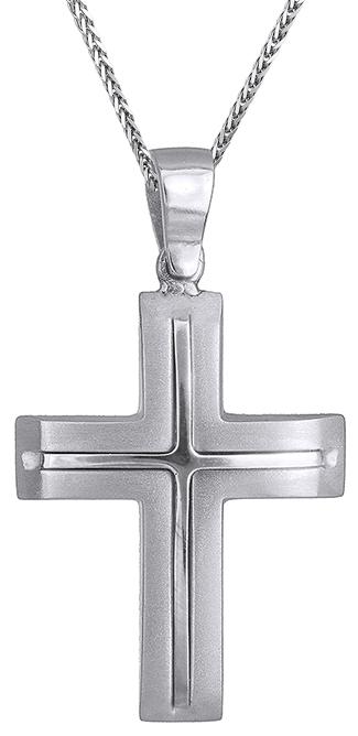 Βαπτιστικοί Σταυροί με Αλυσίδα Λευκόχρυσος αντρικός σταυρός με καδένα 14Κ C019507 019507C Ανδρικό Χρυσός 14 Καράτια