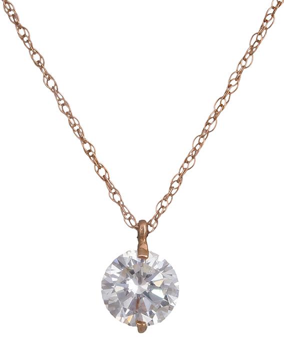 Γυναικείο κολιέ ροζ gold με πέτρα ζιργκόν 019544 019544 Χρυσός 14 Καράτια