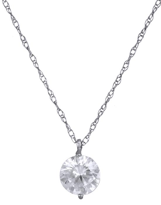Γυναικείο κολιέ λευκόχρυσο με πέτρα ζιργκόν 019547 019547 Χρυσός 14 Καράτια