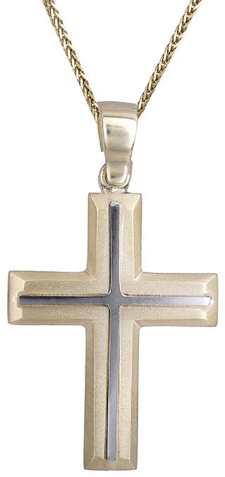 Βαπτιστικοί Σταυροί με Αλυσίδα Αντρικός σταυρός με αλυσίδα C019554 019554C Ανδρικό Χρυσός 14 Καράτια