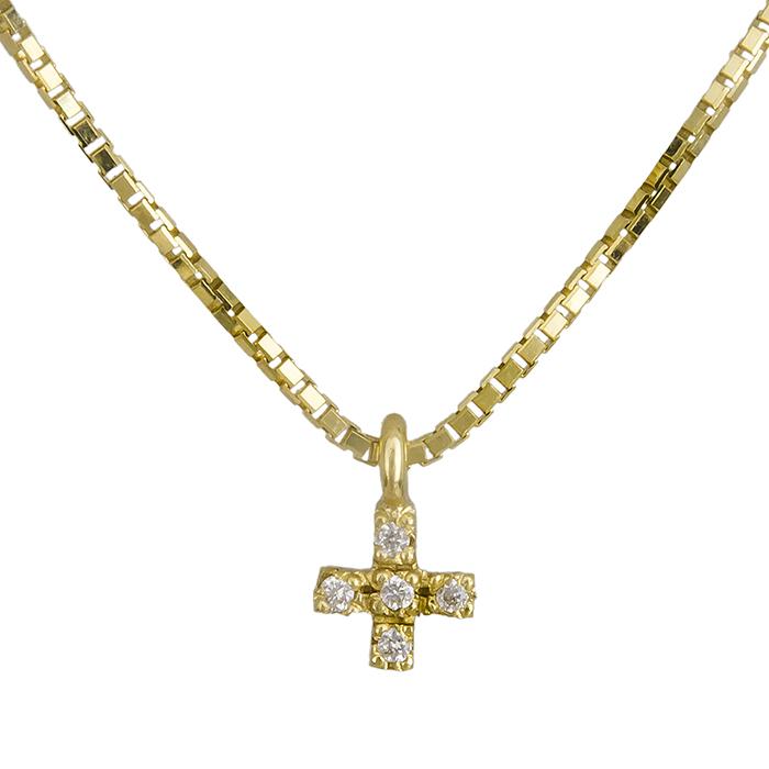 Χρυσός σταυρός Κ18 με brilliant 019565 019565 Χρυσός 18 Καράτια χρυσά κοσμήματα σταυροί