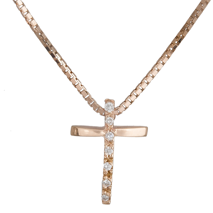 Ροζ σταυρός Κ18 019567 019567 Χρυσός 18 Καράτια χρυσά κοσμήματα σταυροί