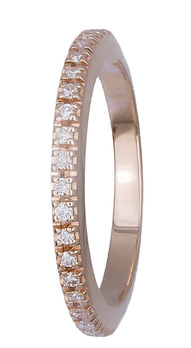 Δαχτυλίδι ροζ gold 18Κ με διαμάντια 019594 019594 Χρυσός 18 Καράτια χρυσά κοσμήματα δαχτυλίδια σειρέ ολόβερα