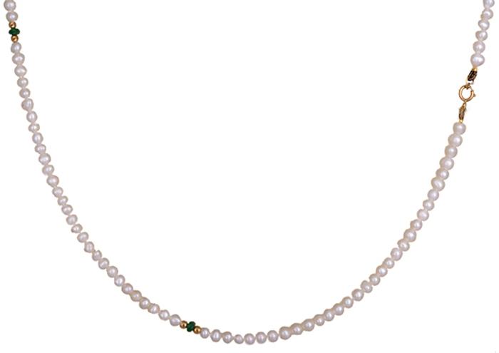 Μαργαριταρένιο κολιέ με σμαράγδια 019641 019641 Χρυσός 14 Καράτια
