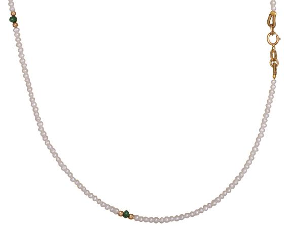 Μαργαριταρένιο κολιέ με σμαράγδια 019645 019645 Χρυσός 14 Καράτια