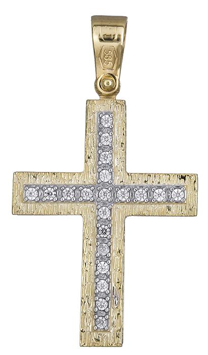 Σταυροί Βάπτισης - Αρραβώνα Σταυρός για κορίτσι διπλής όψης 019688 019688 Γυναικείο Χρυσός 14 Καράτια