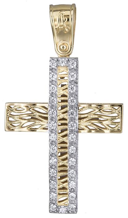 Σταυροί Βάπτισης - Αρραβώνα Δίχρωμος σταυρός διπλής όψης 019689 019689 Γυναικείο Χρυσός 14 Καράτια