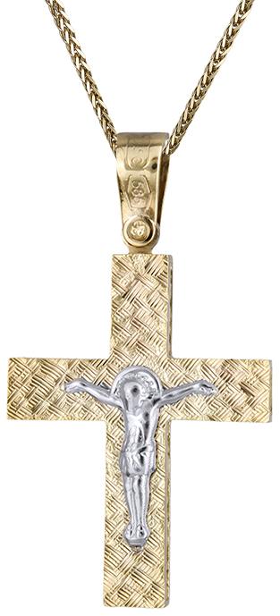 Βαπτιστικοί Σταυροί με Αλυσίδα Αντρικός σταυρός διπλής όψης C019690 019690C Ανδρικό Χρυσός 14 Καράτια