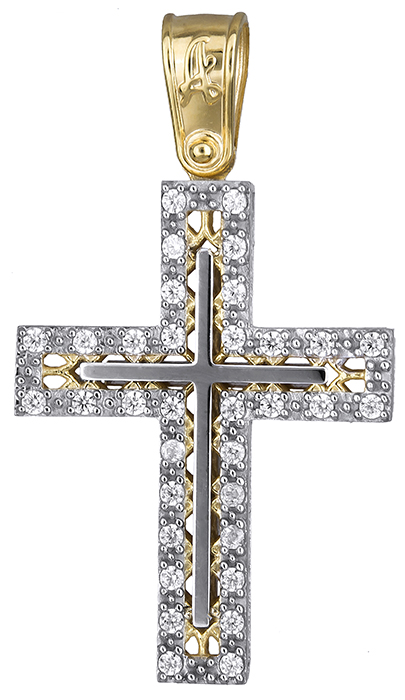 Σταυροί Βάπτισης - Αρραβώνα Δίχρωμος σταυρός γυναικείος 019691 019691 Γυναικείο Χρυσός 14 Καράτια