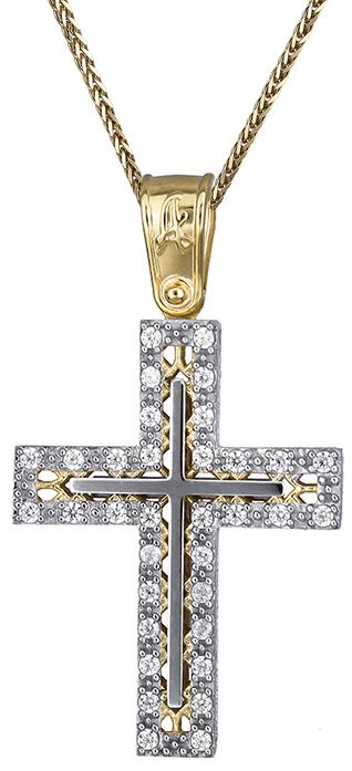 Βαπτιστικοί Σταυροί με Αλυσίδα Βαπτιστικός σταυρός διπλής όψης Κ14 C019691 019691C Γυναικείο Χρυσός 14 Καράτια
