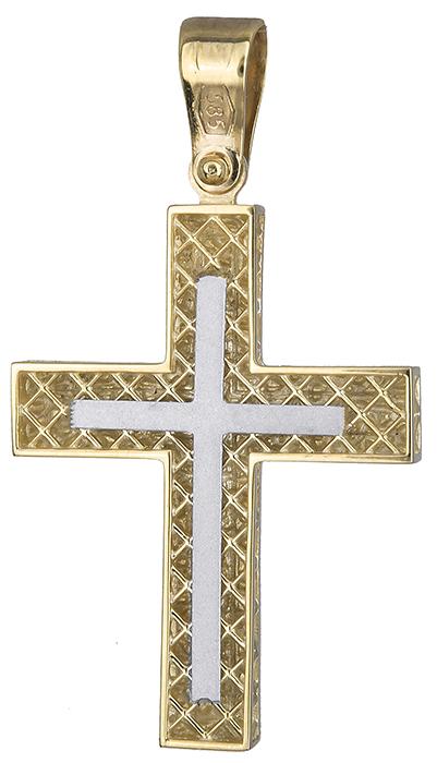 Σταυροί Βάπτισης - Αρραβώνα Ανδρικός σταυρός διπλής όψης 019692 019692 Ανδρικό Χρυσός 14 Καράτια