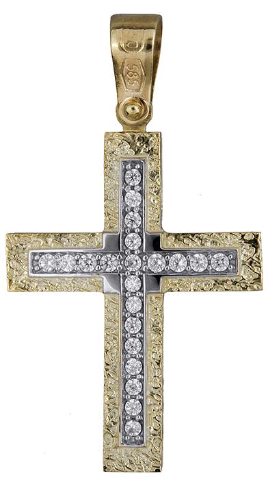Σταυροί Βάπτισης - Αρραβώνα Σταυρός για κορίτσι διπλής όψης Κ14 019693 019693 Γυναικείο Χρυσός 14 Καράτια