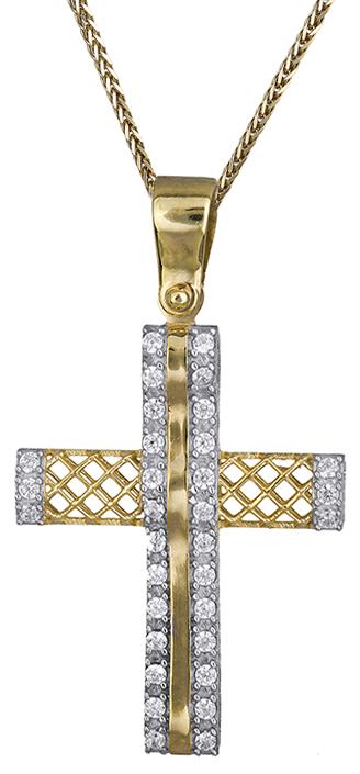 Βαπτιστικοί Σταυροί με Αλυσίδα Χρυσός σταυρός διπλής όψης Κ14 C019694 019694C Γυναικείο Χρυσός 14 Καράτια