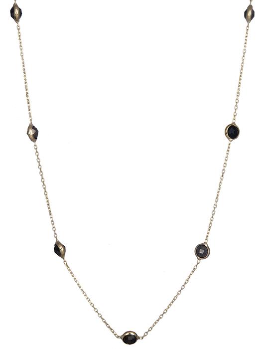 Γυναικείο κολιέ με μαύρες πέτρες Κ14 019712 019712 Χρυσός 14 Καράτια