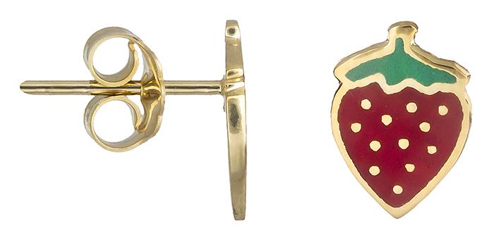 Σκουλαρίκια φραουλίτσες Κ14 019731 019731 Χρυσός 14 Καράτια παιδικά κοσμήματα σκουλαρίκια