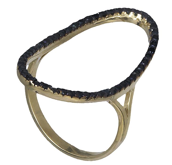 Δαχτυλίδι με μαύρες πέτρες ζιργκόν 14K 019767 019767 Χρυσός 14 Καράτια