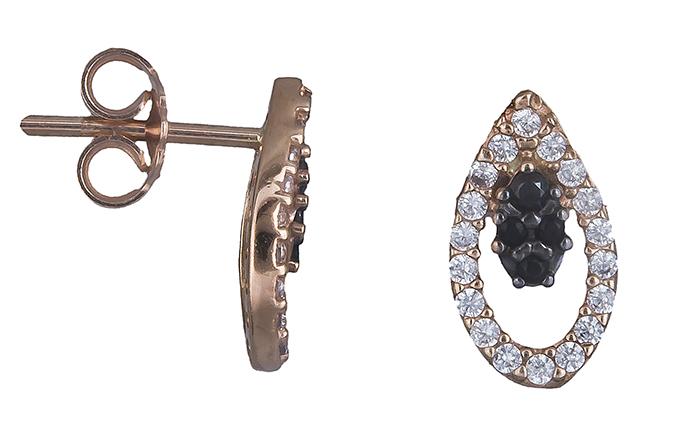 Σκουλαρίκια ροζ χρυσό Κ14 019785 019785 Χρυσός 14 Καράτια χρυσά κοσμήματα σκουλαρίκια καρφωτά