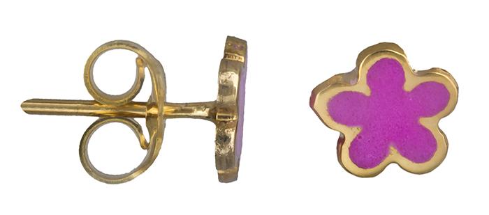 Χρυσά σκουλαρίκια λουλούδι 019793 019793 Χρυσός 14 Καράτια παιδικά κοσμήματα σκουλαρίκια