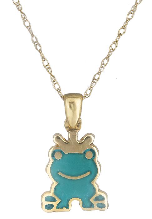 Παιδικό κρεμαστό κολιέ βάτραχος 019796 019796 Χρυσός 14 Καράτια παιδικά κοσμήματα κρεμαστά