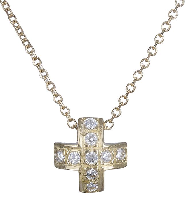 Χρυσό σταυρουδάκι με πέτρες ζιργκόν Κ14 019814 019814 Χρυσός 14 Καράτια