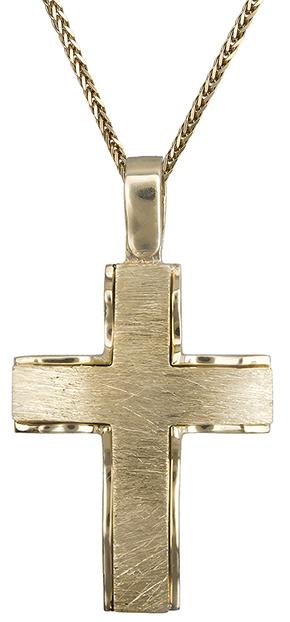Βαπτιστικοί Σταυροί με Αλυσίδα Σταυρός αντρικός Κ18 με αλυσίδα C019823 019823C Ανδρικό Χρυσός 18 Καράτια