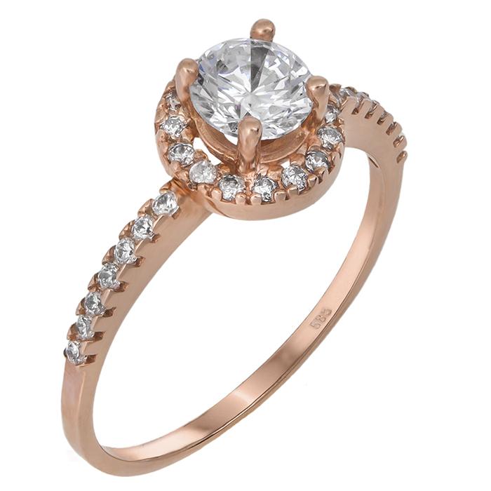 Μονόπετρο δαχτυλίδι ροζ χρυσό Κ14 019826 019826 Χρυσός 14 Καράτια