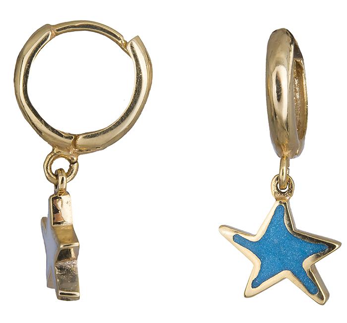 Χρυσά σκουλαρίκια αστέρι Κ14 019857 019857 Χρυσός 14 Καράτια